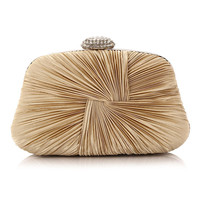 Casual Rhinestone Pleated Chain Evening Clutch Bag
