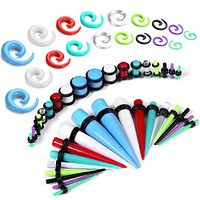 54PC Gauges Kit Ear Stretching 14G-00G Acrylic Spiral Tapers Plugs Body Piercing Set