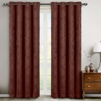 Chocolate Bella Blackout Weave Window Curtain Panels (Two Panels )