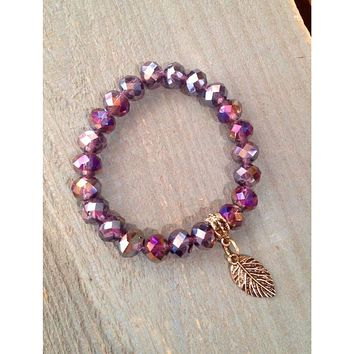 Purple Moon Shimmer Bead Bracelet With Antique Gold Feather Charm