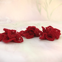 Hand-knit Lace Hair Flowers, Bridesmaid/Flower Girl Accessories, Red, Estonian Lace, Listing for Three Flowers