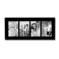Furnistar Decorative Black Wood Divided Picture Photo Frame (4 Opening)