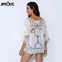 Aproms Blusa Feminina Summer Women White Lace Crochet Tropical Top Blouse New 2017 Boho Hollow Beach Cover Up Blouse Beach Shirt