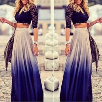 Spring Autumn Women Gradient Long Maxi Ankle-length Skirt Casual High Elastic Waist Skirts Vestidos = 1947012676