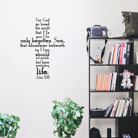 John 3:16 Cross Style Religious Bible Verse Wall Decal