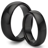 His & Her's 8MM/6MM Tungsten Carbide Classic Black Wedding Band Ring Set (Available Sizes 4-14 Including Half Sizes)
