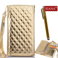 XIANA Deluxe Fashion Shining Grid Skin PU Leather Wrist Strap Magnetic Wallet Purse Stand Case Cover with Credit Card Slots and Stylus Suitable For Apple iPhone 4 4S 5 5G 5S 5C(Golden)