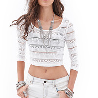FOREVER 21 Romantic Crocheted Crop Top
