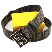 Fendi Mens Belt. Size 120(36-40). Brown with Black F Buckle