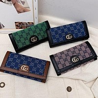 GG embroidered letters denim stitching color clamshell wallet long clutch Bag