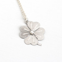Sale - Vintage Sterling Silver Four Leaf Clover Pearl Necklace -  Retro 1960s Irish Statement Good Luck Faith Hope Love Luck Leaf Jewelry
