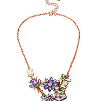 Betsey Johnson Beaded Flower & Bug Frontal Necklace