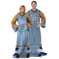 North Carolina Tar Heels NCAA Adult Uniform Comfy Throw Blanket w- Sleeves
