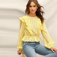 Yellow Ruffle Detail Embroidered Eyelet Peplum Top Bishop Sleeve Blouse Women Elegant Boho Solid Lace Blouses