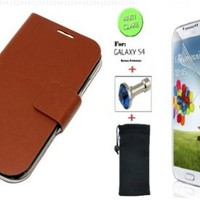 """Brown"" Faux Leather Skin Bracket Flip Case Cover Wallet With Magnetic Closure & KickStand For Samsung Galaxy S4 (INCLUDED: MATTE, ANTI-GLARE FRONT SCREEN PROTECTOR + DIAMOND EARPHONE DUST PLUG + PHONE DUST BAG POUCH)"