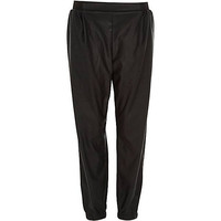 River Island Womens Black loose leather-look joggers