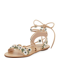 Loeffler Randall Fleura Ankle-Wrap Flat Leather Sandal, Wheat/Anemone