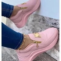 Pink artificial Pu low top viscose shoes round head fashion sandals