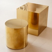 Polished Brass Cube & Round Side Table
