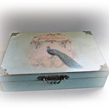 Wedding Card Box Peacock Card Holder Turquoise Wedding Box Personalized Money Box Retro Money Holder Bridal Shower Present Wedding Gift