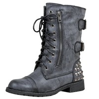 Harley 12 Womens Military Lace up Studded Combat Boot Black 6