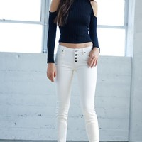 Bullhead Denim Co. Winter Low Rise Exposed Button Skinny Jeans - Womens Jeans - White