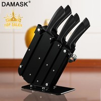 Damask Kitchen Knife Set Stainless Steel Knives 6PCS Set & Knife Stand Holder Block Multi-functional Kitchen Cooking Accessories