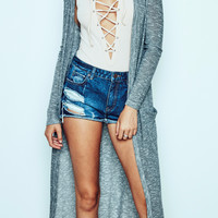MARLED RIBBED KNIT DUSTER CARDIGAN - PROMO 60% OFF