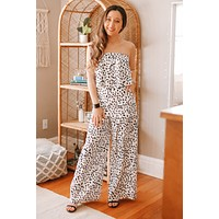 Strapless Spotted Wide Leg Jumpsuit (Sale)