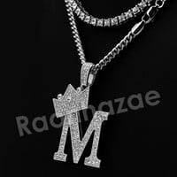 Crown M Initial Pendant Necklace Set.