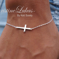 10K, 14K or 18K or Sterling Silver - Celebrity Style Small Sideways Cross Bracelet or Anklet - White, Yellow or Rose Gold