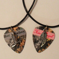 Her Cowboy boot His Angel wing charm guitar pick by featherpick
