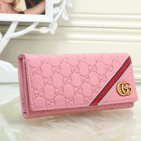 Gucci Women Leather Buckle Wallet Purse