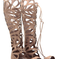 Taupe Faux Suede Cut Out Lace Up Gladiator Sandals