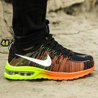 NIKE Air Men and women running shoes rainbow flying line mesh air cushion couple casual shoes yellow orange