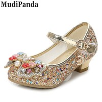MudiPanda Glitter Children Girls High heel Shoes For Kids Princess Sandals Bowtie Knot infant Baby Girls Shoes For Party Wedding