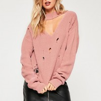 Missguided - Pink Choker Neck Distressed Jumper