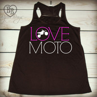 Love Moto 2-- Racerback Tank Top- Sizes S-XL. Other Colors Available