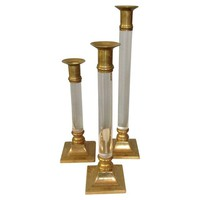 Lucite & Brass Candlesticks - Set of 3