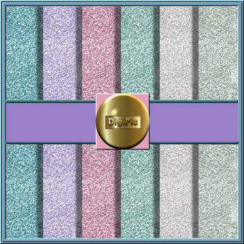 "COMMERCIAL USE OK 6 Digital Pastel Fine Glitter Scrapbook Papers, 12""x12"" 300Dpi Instant Download"