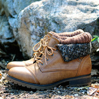 cozy womens sweater boot - tan