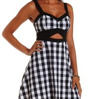 Black Combo Checked Cut-Out Skater Dress by Charlotte Russe