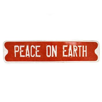 Christmas EMBOSSED HOLIDAY WALL ART Tin Distressed Xm0933a Peace