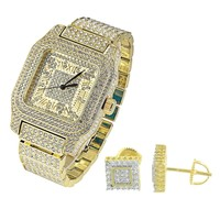 Hip Hop  Square Face 14k Gold Finish Watch with Matching Earrings Combo Set