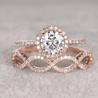 2pc Moissanite Bridal Set,Engagement ring Rose gold,Diamond wedding band,14k,6.5mm Round Cut,Gemstone Promise Ring,Pave Set,Loop eternity