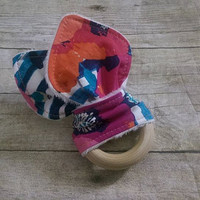 Baby girl wooden teether - untreated organic maple wooden rings - pink & navy floral minky fabric teething ring - 2.5in. ring