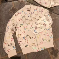 """Gucci"" Fashion GG Letter Logo Long Sleeve Hot Stamping Zip Cardigan Round Neck Coat Women Pattern Print Clothing"