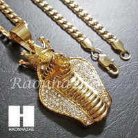 316L Stainless steel Gold King Cobra w/ 5mm Cuban Chain SG010