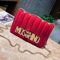 ONETOW 2017 autumn and winter new fashion small incense shoulder gold velvet chain chain buckle Messenger bag