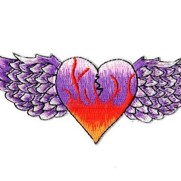 Flying Heart Embroidered Iron On Patch